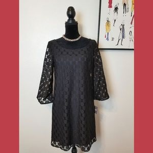 Muse NWT Black Dot Lined Dress Sz 8